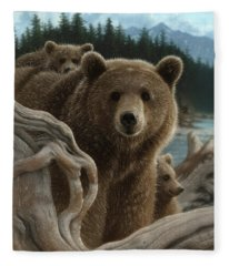 Brown Bear With Cubs - Backpacking Fleece Blanket