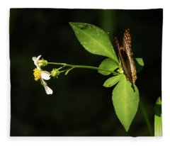 Brown Butterfly On Leaves Fleece Blanket