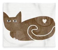 Brown Cat- Art By Linda Woods Fleece Blanket