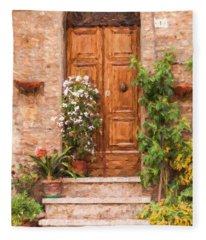 Brown Door Of Tuscany Fleece Blanket