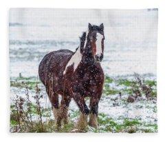 Brown Horse Galloping Through The Snow Fleece Blanket
