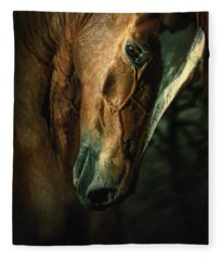 Brown Horse Portrait Fleece Blanket
