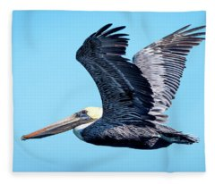 Brown Pelican In Flight #3 Fleece Blanket