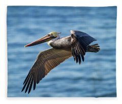 Brown Pelican In Flight Fleece Blanket