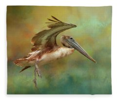 Brown Pelican Landing Fleece Blanket