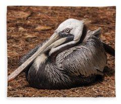 Brown Pelican Relaxing Fleece Blanket