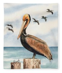 Brown Pelicans Fleece Blanket
