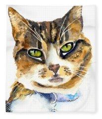 Brown Tabby Cat Watercolor Fleece Blanket