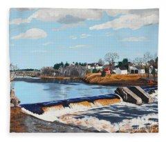 Brownville Village Dam Fleece Blanket