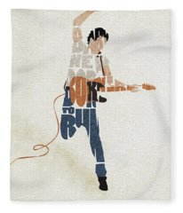 Bruce Springsteen Typography Art Fleece Blanket