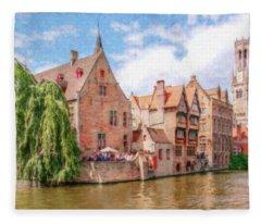 Bruges Canal Belgium Dwp-2611575 Fleece Blanket