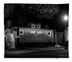 Bryson City  Caboose In Black And White Fleece Blanket