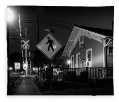 Bryson City Depot At Night In Black And White Fleece Blanket