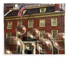 Bubbles Of New York History - Photo Collage Fleece Blanket