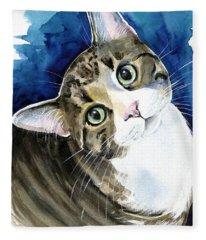 Bubbles - Tabby Cat Painting Fleece Blanket