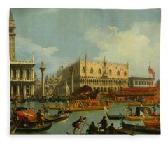 Bucentaur's Return To The Pier By The Palazzo Ducale Fleece Blanket