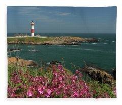 Buchan Ness Lighthouse And Spring Flowers Fleece Blanket
