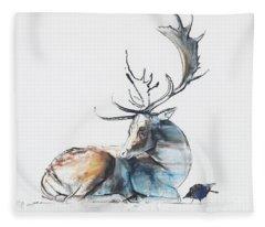 Buck And Bird Fleece Blanket