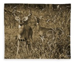 Buck And Doe In Sepia Fleece Blanket