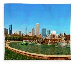 Buckingham Fountain Chicago Grant Park Fleece Blanket