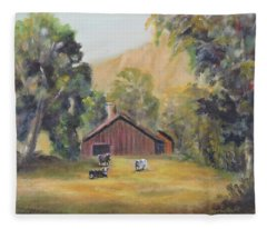 Bucks County Pa Barn Fleece Blanket