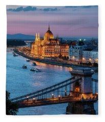 Budapest City At Dusk Fleece Blanket