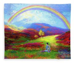 Buddha Chakra Rainbow Meditation Fleece Blanket