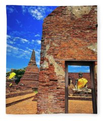 Buddha Doorway At Wat Worachetha Ram In Ayutthaya, Thailand Fleece Blanket