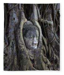 Buddha Head In Tree Fleece Blanket