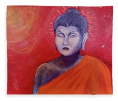 Buddha In Red Fleece Blanket