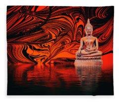Buddha On A Lake Fleece Blanket