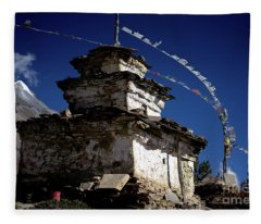 Buddhist Gompa And Prayer Flags In The Himalaya Mountains, Nepal Fleece Blanket