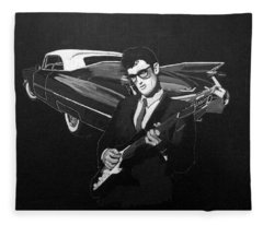 Buddy Holly And 1959 Cadillac Fleece Blanket