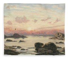 Bude Sands At Sunset Fleece Blanket