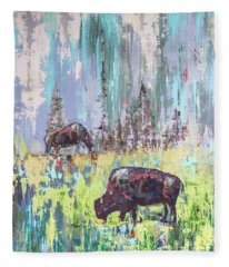 Buffalo Grazing Fleece Blanket