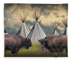 Buffalo Herd On The Reservation Fleece Blanket