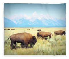 Buffalo Roam, Smokey Grand Tetons, Wyoming Fleece Blanket