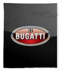 Bugatti - 3 D Badge On Black Fleece Blanket