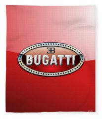 Bugatti - 3 D Badge On Red Fleece Blanket