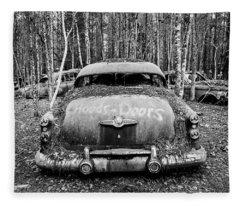Buick V8-abandoned Black And White Fleece Blanket