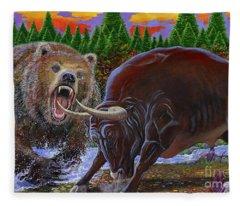 Bull And Bear Fleece Blanket