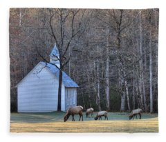Bull Elk Attending Palmer Chapel  In The Great Smoky Mountains National Park Fleece Blanket
