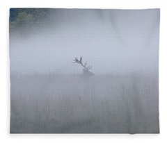 Bull Elk In Fog - September 30, 2016 Fleece Blanket