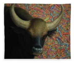 Bull In A Plastic Shop Fleece Blanket