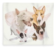 Fleece Blanket featuring the mixed media Bull Terrier Medley by Barbara Keith