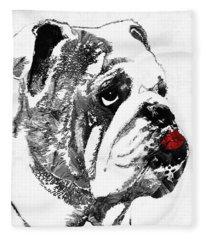 Bulldog Pop Art - How Bout A Kiss 2 - By Sharon Cummings Fleece Blanket