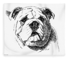 Bulldog-portrait-drawing Fleece Blanket