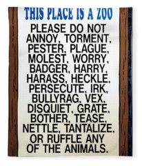 Zoo Sign - Bullyrag? Fleece Blanket