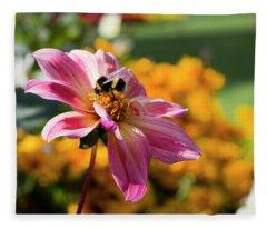 Bumblebee On Orange Fleece Blanket