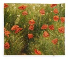Bunch Of Poppies Fleece Blanket